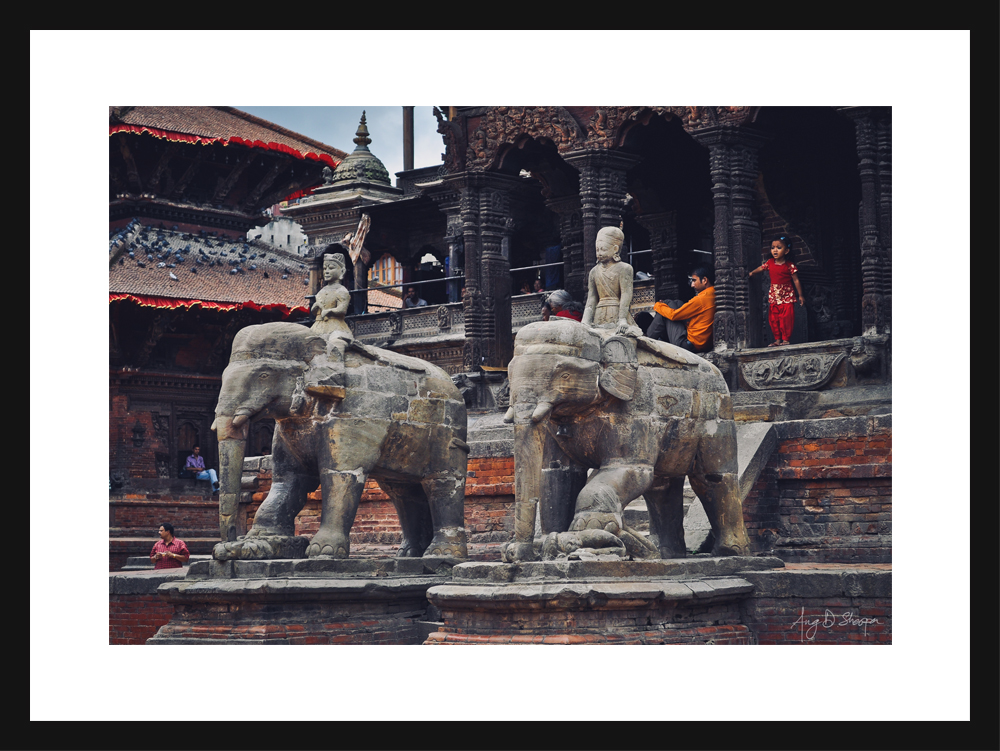 The elephant guards in Basantapur